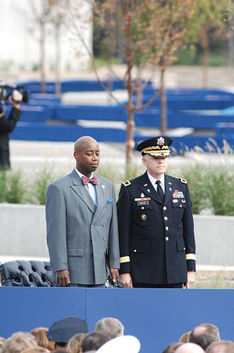 Barry Black -  Rear Adm. Barry C. Black, USN (Ret.), (left), the chaplain of the U.S. Senate, and Maj. Gen. Douglas L. Carver, the U.S. Army chief of chaplains, take their places on the dais at the Pentagon Memorial dedication ceremony, Sept. 11, 2008