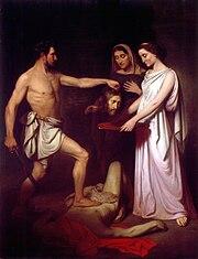 Victor Meirelles: A degola��o de S�o Jo�o Batista, 1855, MNBA, fidelidade completa ao modelo europeu