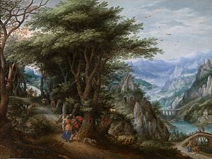 Denis van Alsloot - Landscape with Tobias and the Angel, with Hendrick de Clerck