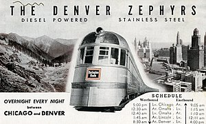 City of Denver (train) - The Burlington's Denver Zephyr was the City of Denvers principal competitor on the Chicago–Denver route.