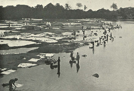 Dhobies at work at Saidape, c. 1905 - Dhobi