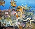 Diorama of a Devonian seafloor - crinoids, corals, fenestrate bryozoan, trilobites, algae (44741819565).jpg