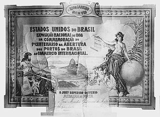 Exhibition of the centenary of the opening of the Ports of Brazil - Diploma from the exhibtion awarded to José Mentor Guilherme de Mello