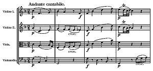 String Quartet No. 19 (Mozart) - Start of second movement
