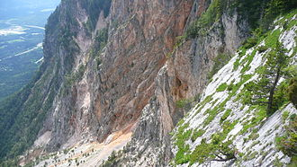 1348 Friuli earthquake - Rockslide area above Villach