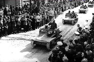 Military history of Bulgaria during World War II - Bulgarians entering Southern Dobruja in Romania after the Treaty of Craiova (1940).