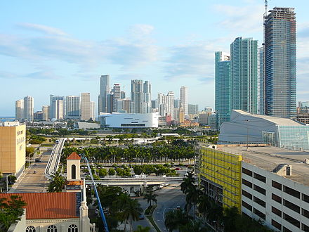 Since late 2001, Downtown Miami has seen a large construction boom in skyscrapers, retail and has experienced gentrification . Downtown Miami from north 20080408.jpg