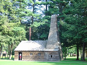 History of the petroleum industry in the United States - Replica engine house and derrick at Oil Creek, Pennsylvania