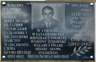 Bruno Schulz - Commemorative plaque at the Drohobycz Ghetto house of Bruno Schulz with text in Ukrainian, Polish and Hebrew