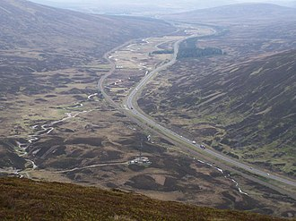 A' Mharconaich - Looking down onto the Pass of Drumochter from the Boar of Badenoch.