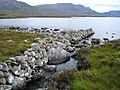 Drystone wall next to the burn which flows from Loch na Moine Buige to Fionn Loch - geograph.org.uk - 52239.jpg