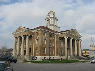National Register of Historic Places listings in Dubois County, Indiana - Image: Dubois County Courthouse in Jasper from southeast