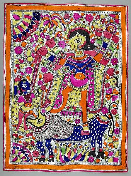 File:Durga zabijająca demona Mahiszę.jpg