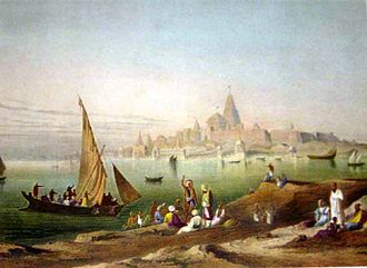 Yadava - Dwarka, as the city of Yadavas is described in Harivamsa as near the sea, in modern era Gujarat; a painting of the city in the 19th century (lower).