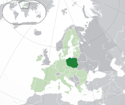 Location of  Poland  (dark green)– in Europe  (green & dark grey)– in the European Union  (green)  —  [Legend]