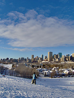 Edmonton skyline on a warm winter day.