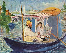 Claude Monet peignant dans son atelier par Édouard Manet