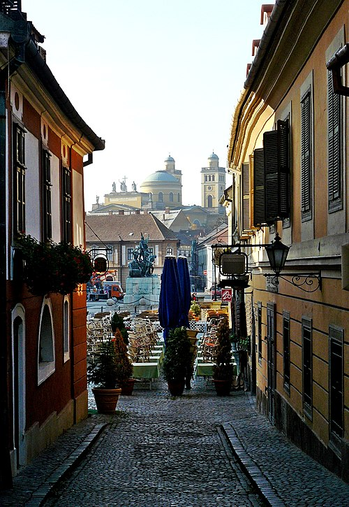 Eger is famous for the narrow alleys in the old part of the inner town Eger, Downtown.jpg