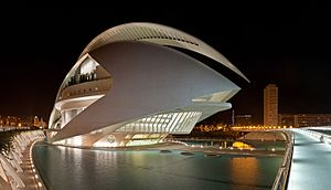 Berklee College of Music - Palau de les Arts Reina Sofía in València, Spain, photographed at night with the city in the background