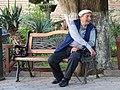 Elderly Man on Park Bench - Sighnaghi - Georgia (18125415778).jpg