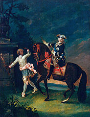 Portrait of Elizabeth Petrovna on Horseback Accompanied by a Negro Servant (copy)