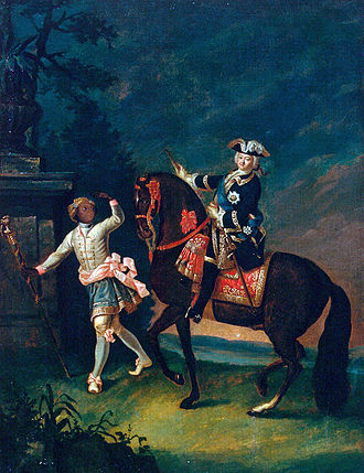 Social class - Equestrian portrait of Empress Elizabeth of Russia with a Moor servant