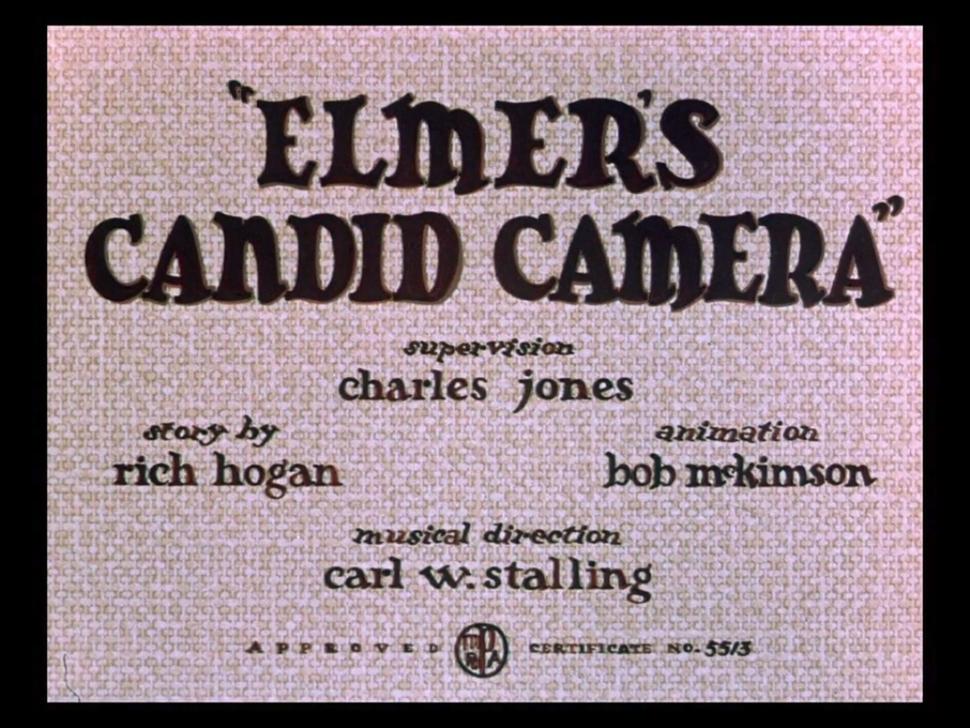 Elmer's Candid Camera title card