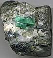 Emerald-calcite-pyrite on carbonaceous shale (Muzo Hydrothermal Emerald Deposit; Muzo area, Boyaca, Colombia) (32688929206).jpg