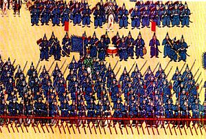 Eight Banners - Soldiers of the Blue banner during the reign of the Qianlong Emperor.