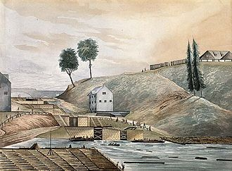 "History of Ottawa - Entrance of the Rideau Canal in 1839  where it meets the Ottawa River.  In 1826, eight locks were constructed by the Royal Engineers with labour provided by the new  Irish and French settlers. The building in the foreground is today called the  Bytown Museum. On the right is Parliament Hill at the time named  ""Barrack Hill""."