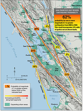 A map tracing all the faults in the Bay Area, and listing probabilities of earthquakes occurring on them.