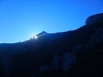 September equinox - Sunset at the equinox from the site of Pizzo Vento at Fondachelli Fantina, Sicily