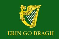 "Possible Saint Patrick's Batallion flag. The Irish gaelic motto reads: ""Ireland forever"""