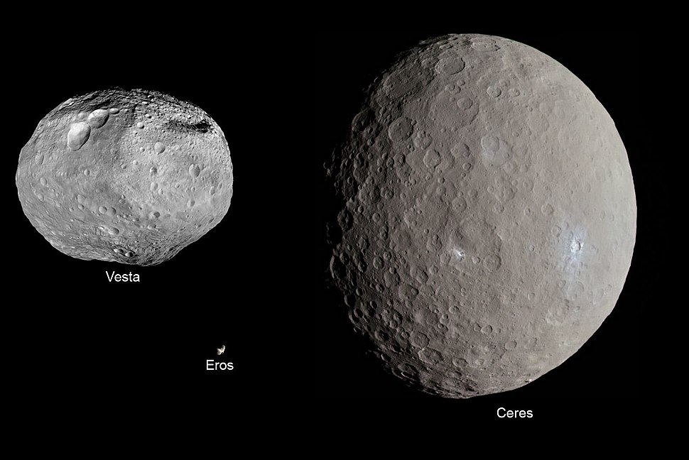 Eros, Vesta and Ceres size comparison