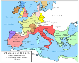 Barbarian kingdoms - Barbarian kingdoms in 526 before reconquest under Justinian I; also shown are the Eastern Roman Empire, and the Germanic and Celtic tribes outside of the territory of the former Western Empire.