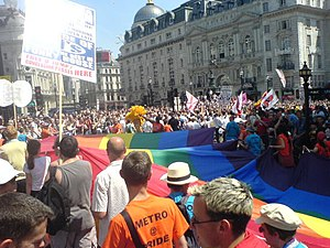 Europride - Rainbow flag at Piccadilly Circus, London 2006