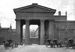 """Euston railway station - """"Euston Arch"""": the original entrance to Euston Station (photographed in 1896)"""
