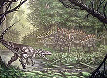 Illustration of a theropod running towards a group of stegosaurs with spikes along their backs surrounded by forest