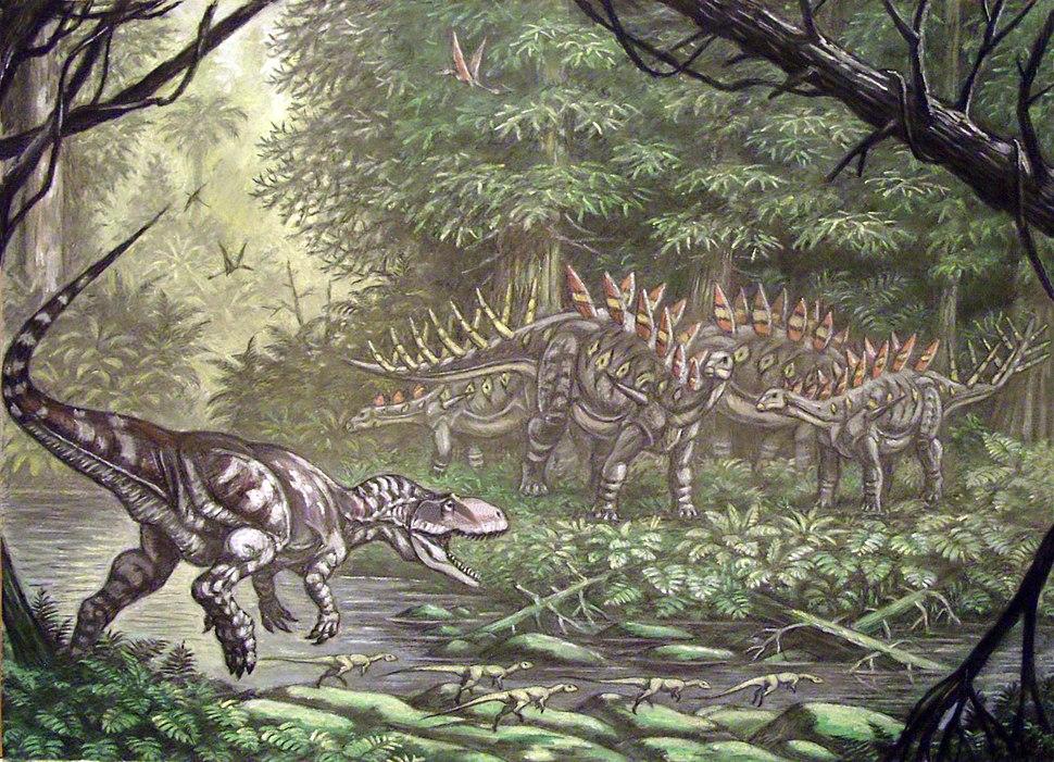 Eustreptospondylus attacking Lexovisaurus