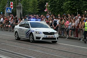 Law enforcement by country - Škoda Octavia Belgian police car
