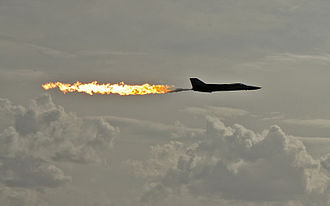 Australian International Airshow - RAAF F-111 at the 2007 Airshow performing a dump-and-burn, a procedure where the fuel is intentionally ignited using the plane's afterburner.