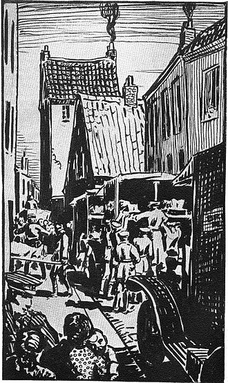 Friends' Ambulance Unit - Civilian hospital evacuation at Béthune, Pas-de-Calais during the First World War; drawing by FAU volunteer Ernest Procter