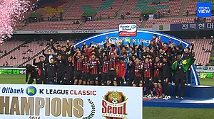 FC Seoul - FC Seoul players celebrating after winning the 2016 K League Classic.