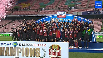 FC Seoul - FC Seoul players celebrating after winning the 2016 K League Classic.