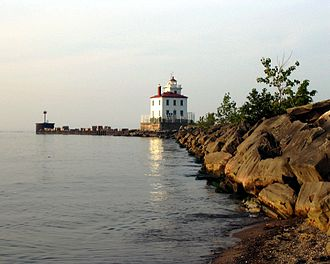 Lake County, Ohio - Fairport Harbor West Breakwater Light, Fairport Harbor viewed from the Headlands Dunes State Nature Preserve