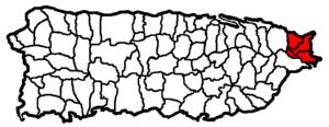 Fajardo metropolitan area - Map of Puerto Rico highlighting the Fajardo Metropolitan Statistical Area.