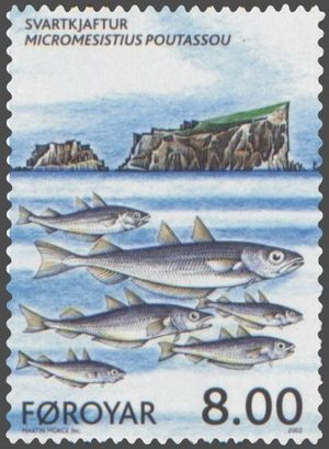 Blue whiting - Blue whiting on a Faroese stamp