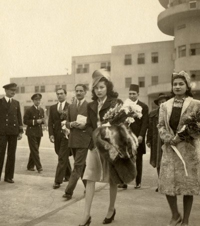 Fawzia of Egypt at Cairo airport