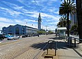 Ferry Building from Washington and The Embarcadero station, May 2019.JPG