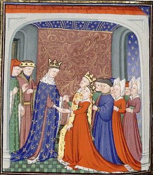 Second War of Scottish Independence - Philip VI receiving David II and Joan Jean Froissart, 15th century